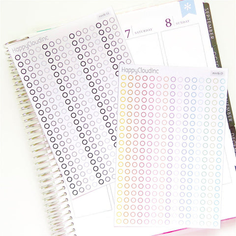 Mini Dot, Circle, Bullet Point Checkbox Stickers | Checklists
