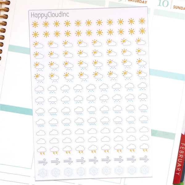 Cute Mini Weather Tracking Planner Stickers (135 stickers)