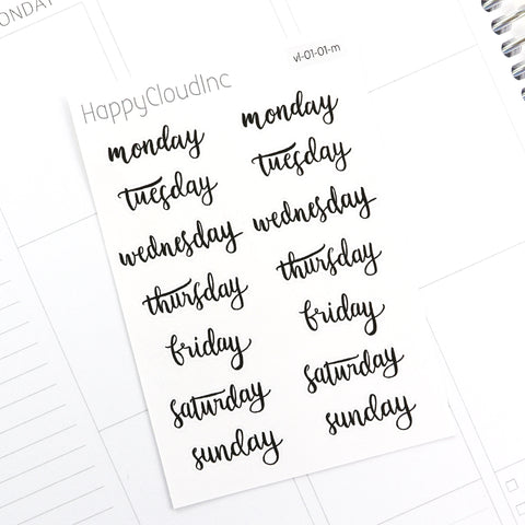 Days of the Week Stickers | Weekdays | Handlettering Script