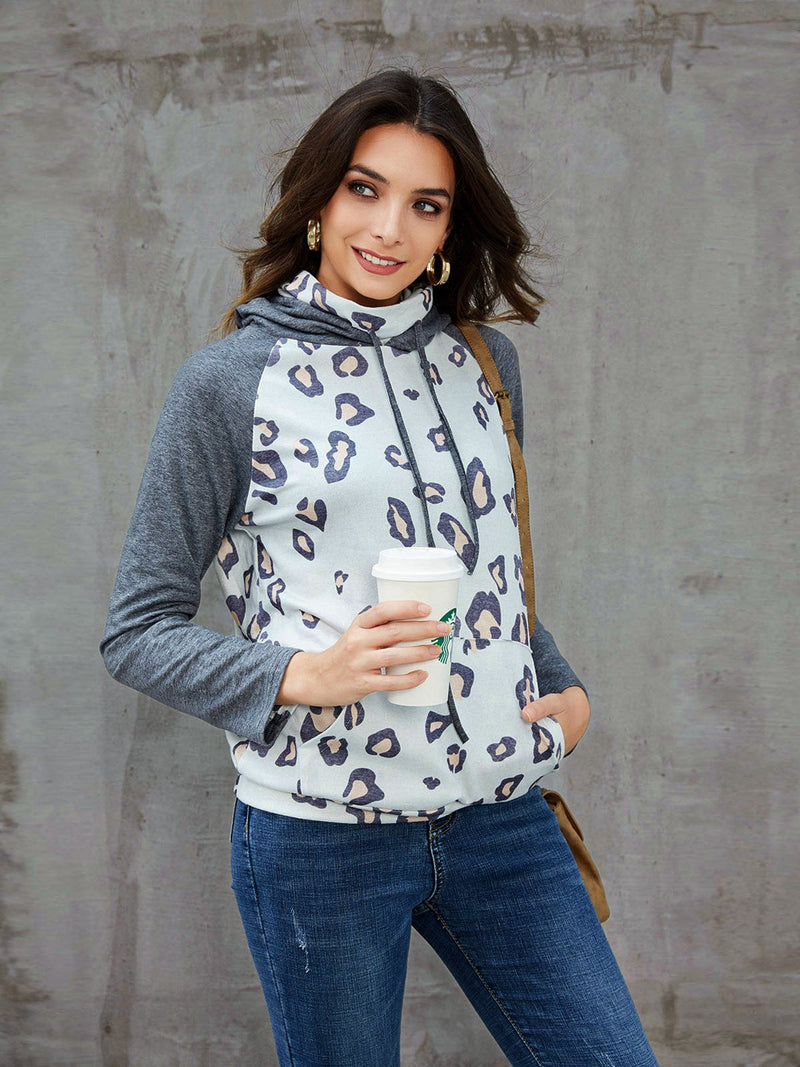 Gray Shift Printed Hoodie Casual Shirts & Tops