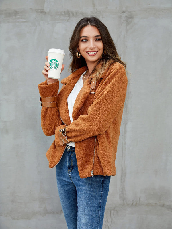 Caramel Long Sleeve Shift Paneled Outerwear