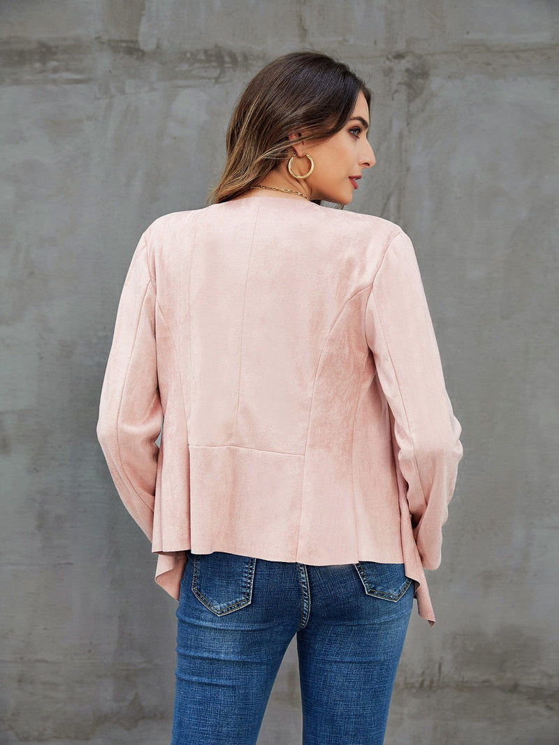 Pink Paneled Long Sleeve Solid Outerwear