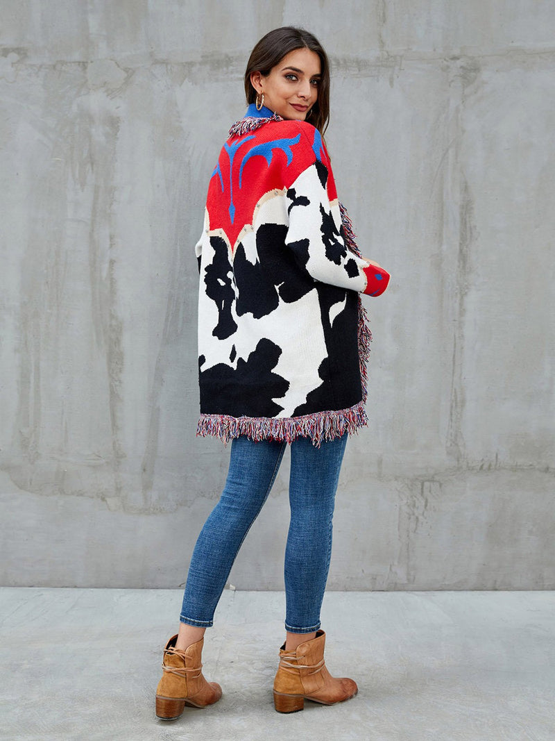 Red V Neck Abstract Cotton Casual Sweater