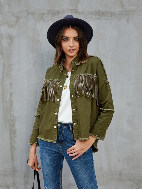 Green Casual Fringed Jackets