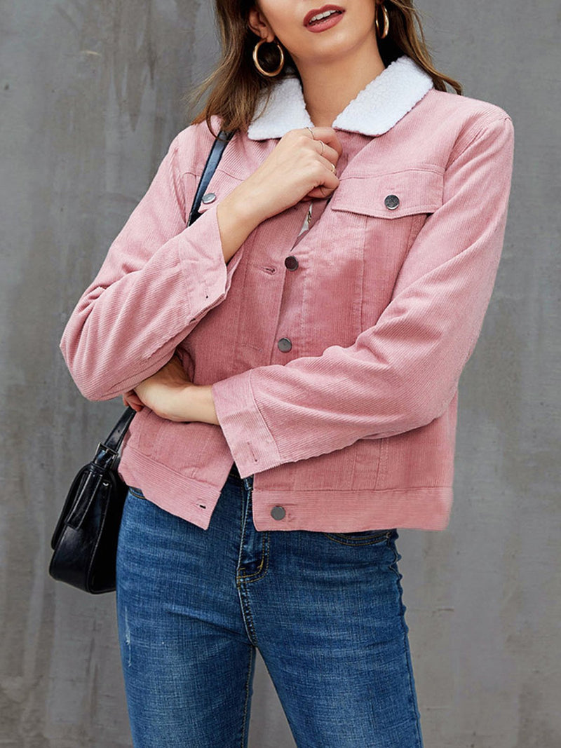 Pink Long Sleeve Solid Shift Outerwear