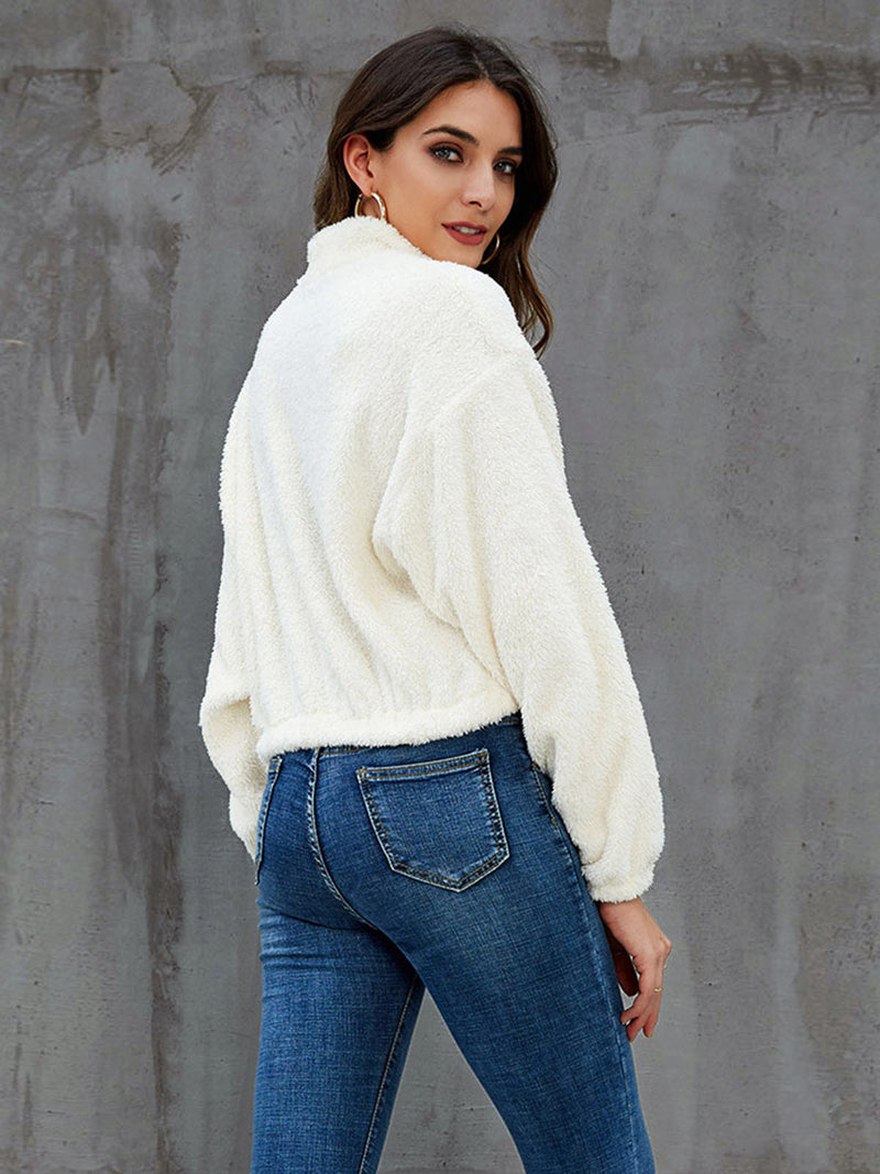 White Paneled Long Sleeve Outerwear