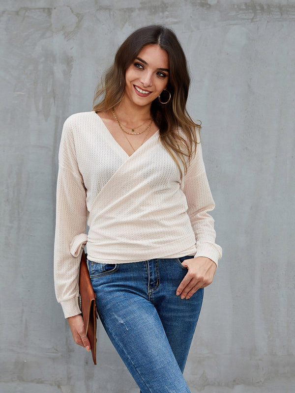 Apricot Solid Shift Casual Surplice Neck Sweater