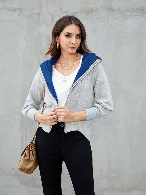 Gray Pockets Long Sleeve Casual Outerwear