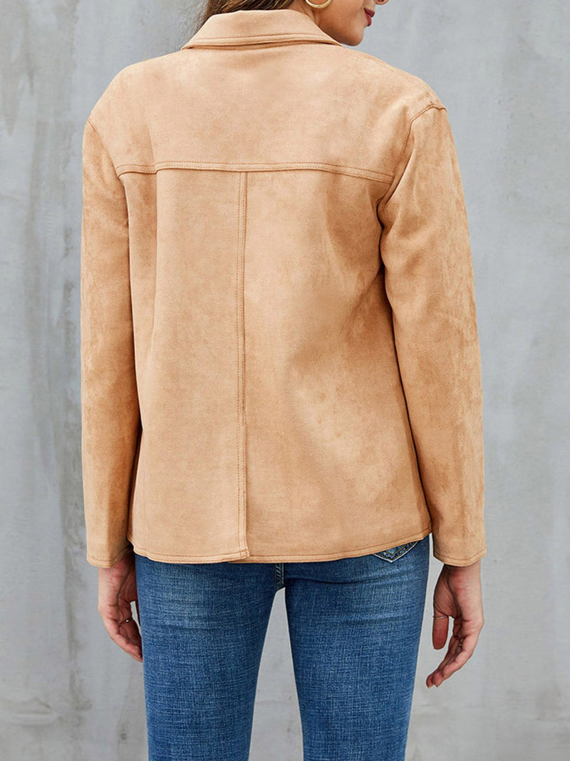 Khaki Long Sleeve Shift Tencel V Neck Outerwear