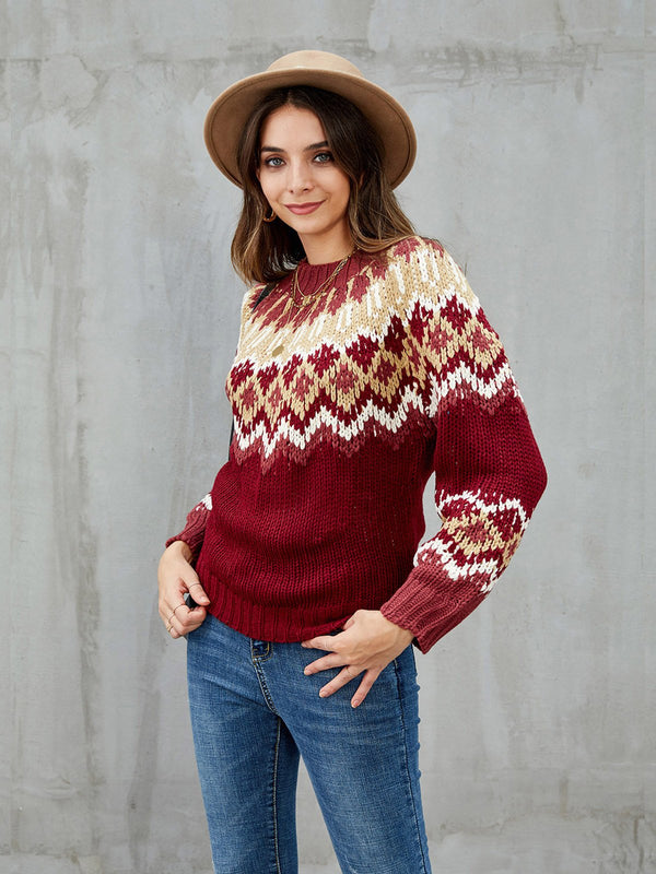 Burgundy Tribal Casual Long Sleeve Sweater