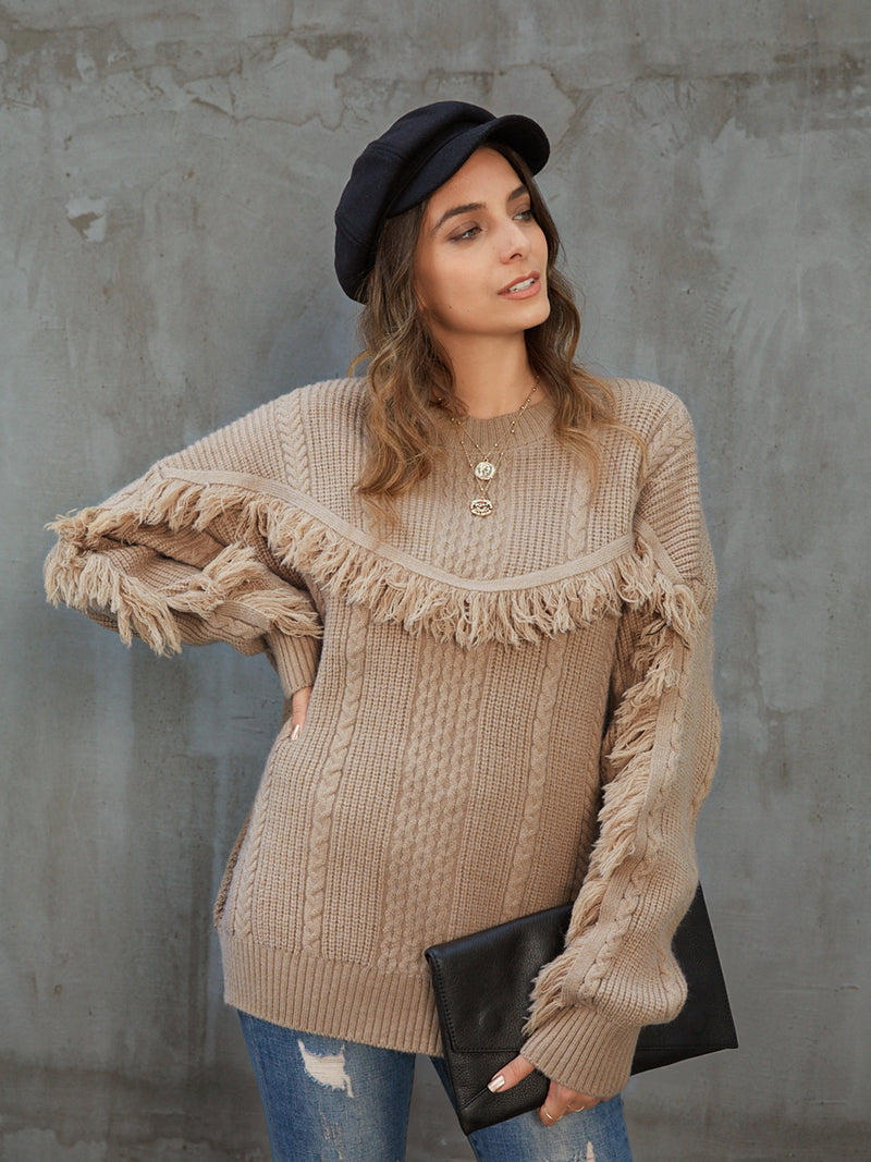 Khaki Casual Crew Neck Sweater