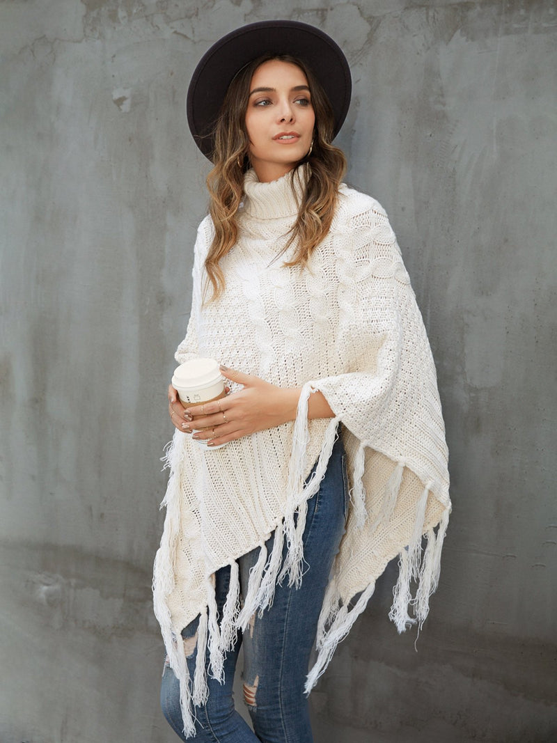 White Solid Turtleneck Casual Fringed Outerwear