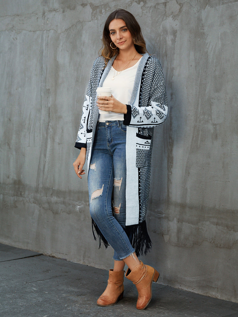 White V Neck Pockets Long Sleeve Graphic Outerwear
