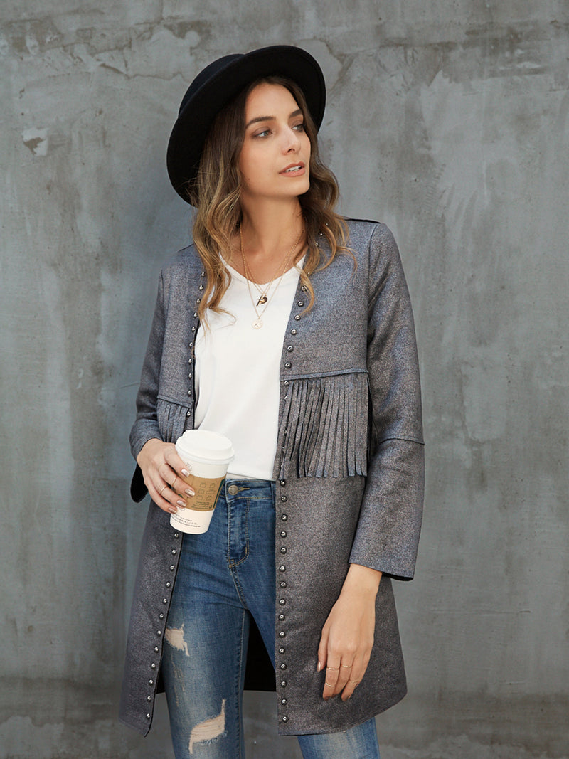 Gray Buttoned Shift Solid Work Outerwear