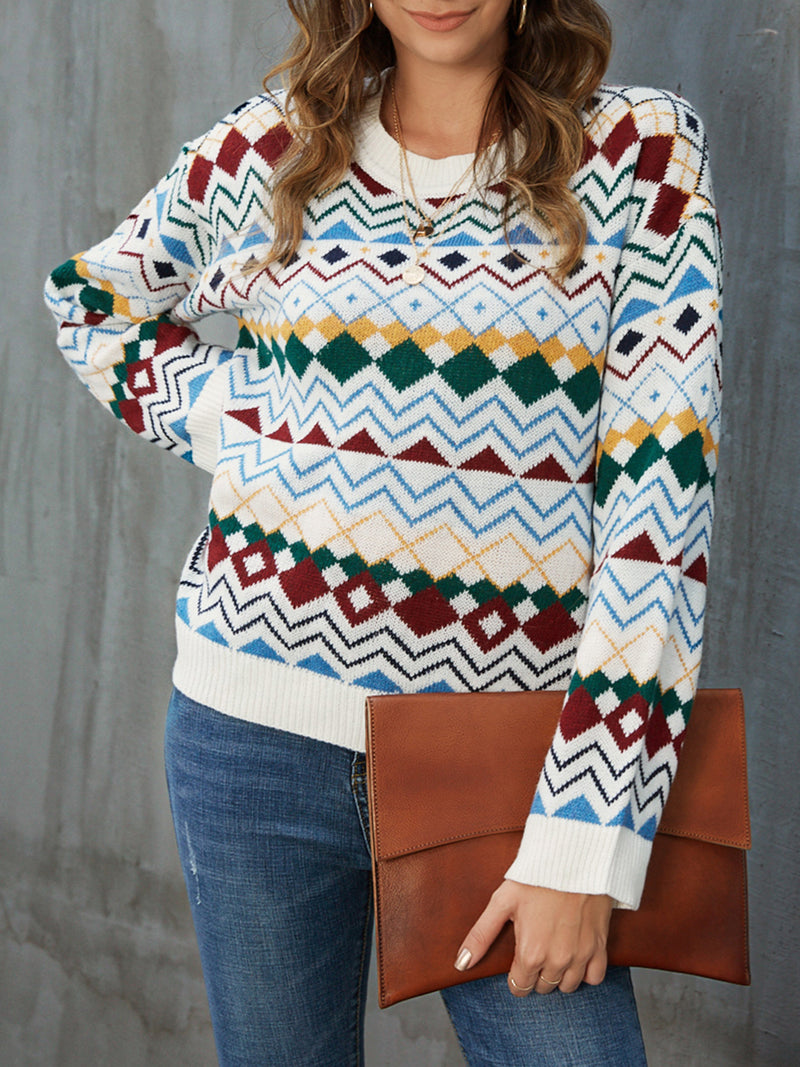 White Geometric Paneled Crew Neck Long Sleeve Sweater