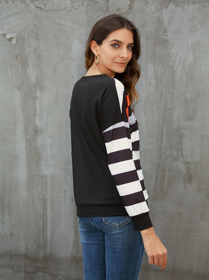 Black Casual Crew Neck Shirts & Tops