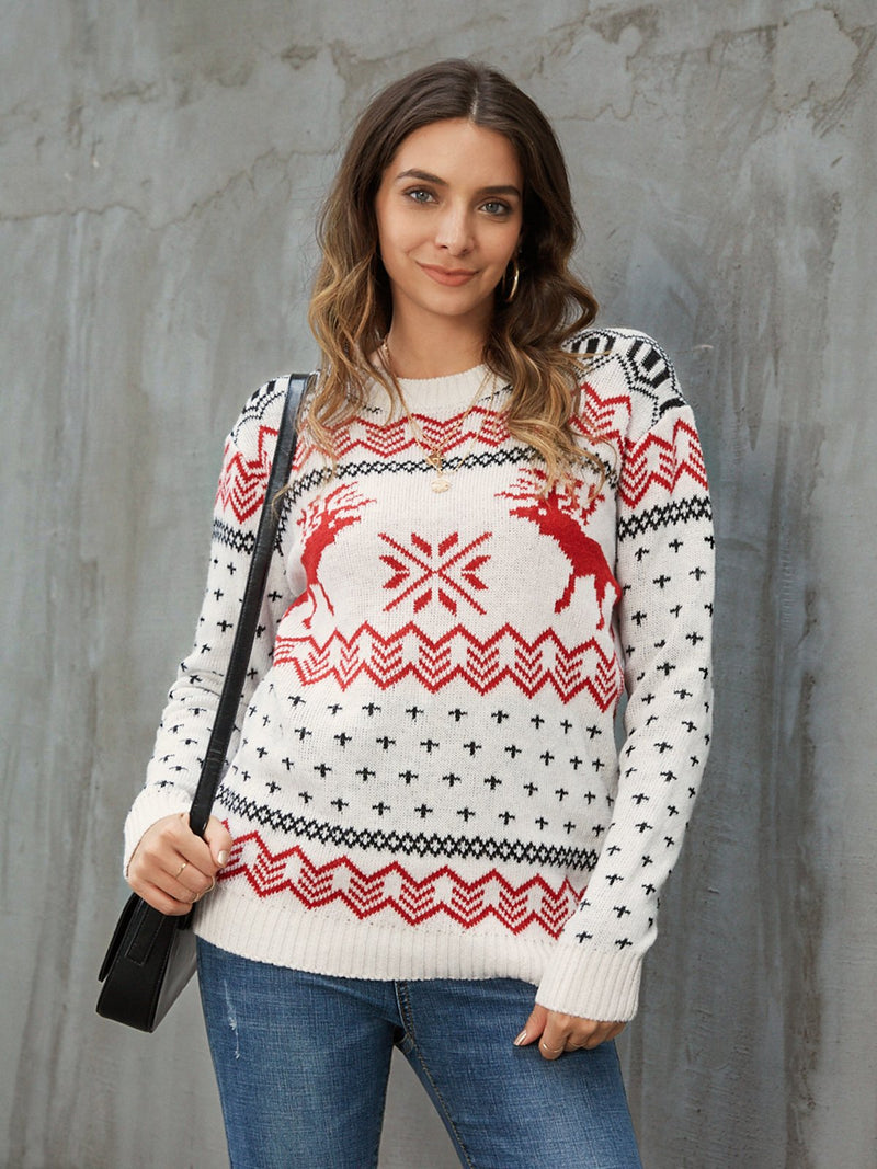 White Casual Acrylic Knitted Sweater