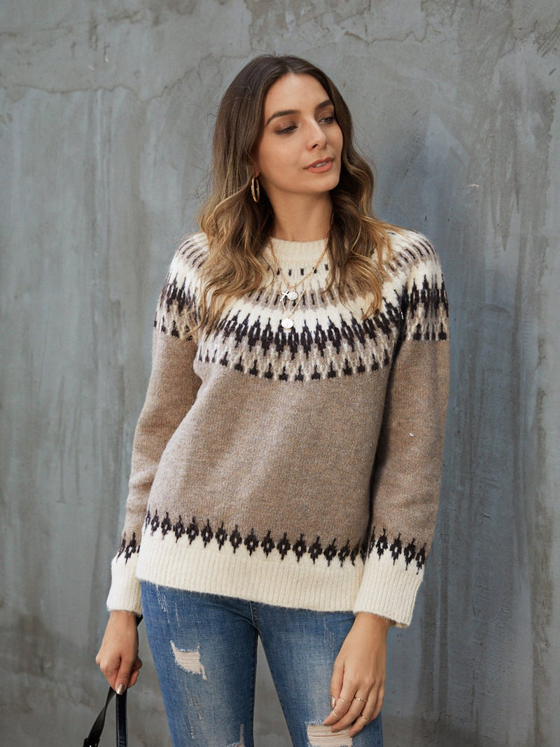 Light Coffee Long Sleeve Knitted Casual Sweater