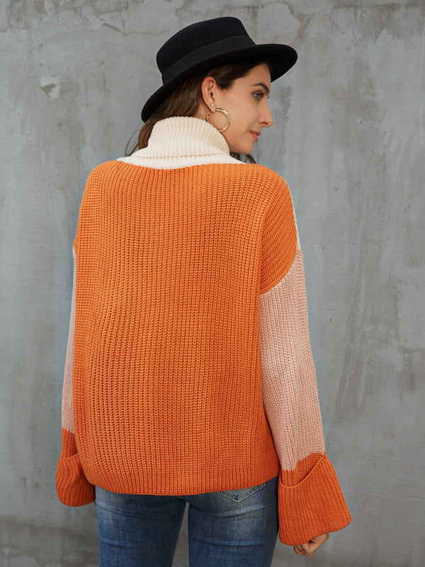 Orange Cowl Neck Casual Color-Block Sweater