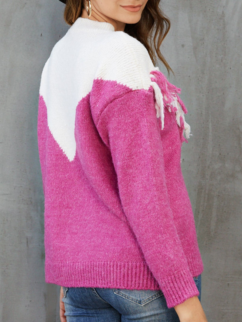 Rose Red Long Sleeve Color-Block Sweater