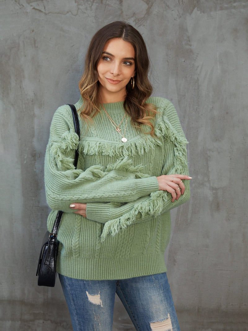 Green Solid Long Sleeve Sweater