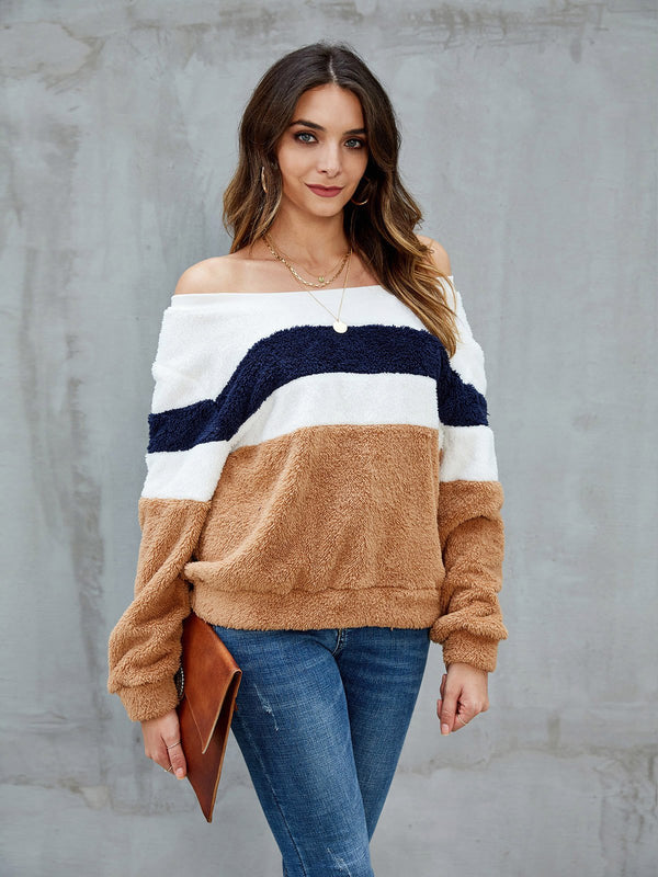Khaki Striped Shift Casual Sweatshirt