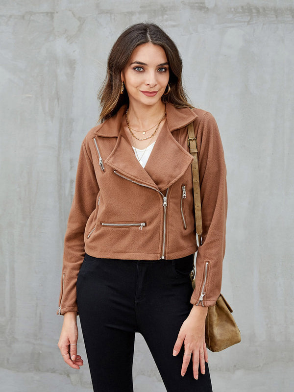 Khaki Zipper Shift Casual Jackets