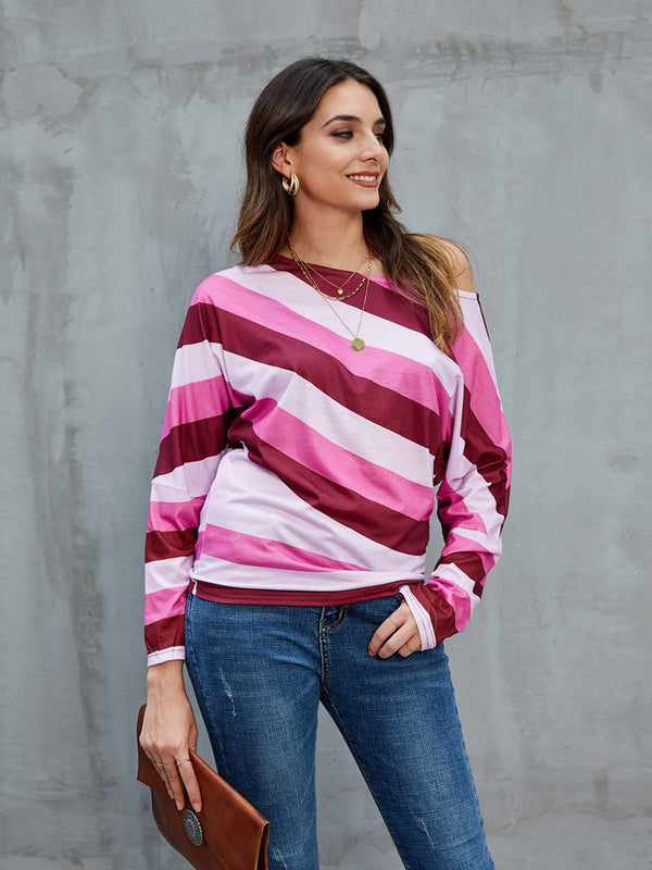 Pink Crew Neck Cotton Casual Shirts & Tops