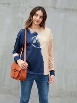 Pink Crew Neck Casual Shift Sweatshirt