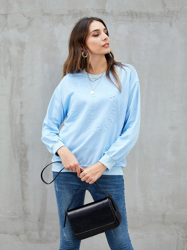 Blue Long Sleeve Casual Sweatshirt