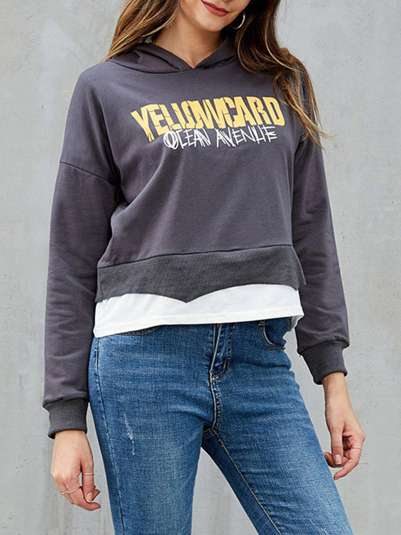Dark Grey Casual Long Sleeve Cotton Letter Sweatshirt