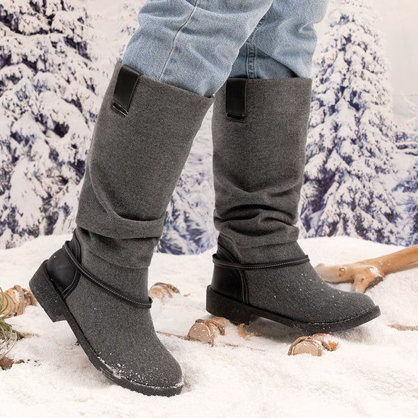 Mid-Calf Combat Boots Slip-On Low Heel Faux Suede Boots