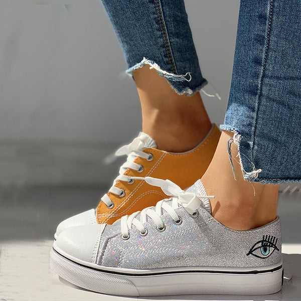Women Colorblock Eyes Pattern Eyelet Lace-Up Casual Sneakers