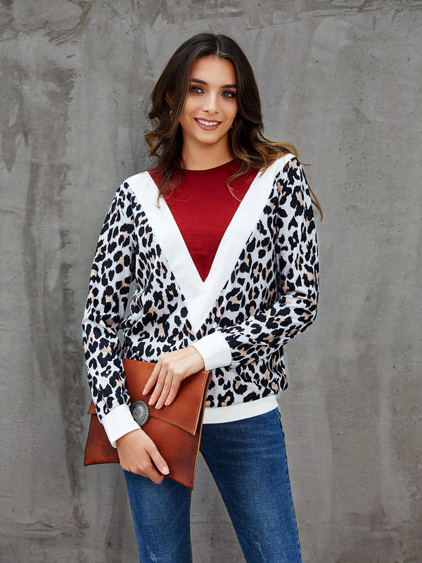 Red Shift Crew Neck Long Sleeve Leopard Print Shirts & Tops