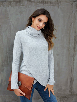 Gray Long Sleeve Shift Shirts & Tops