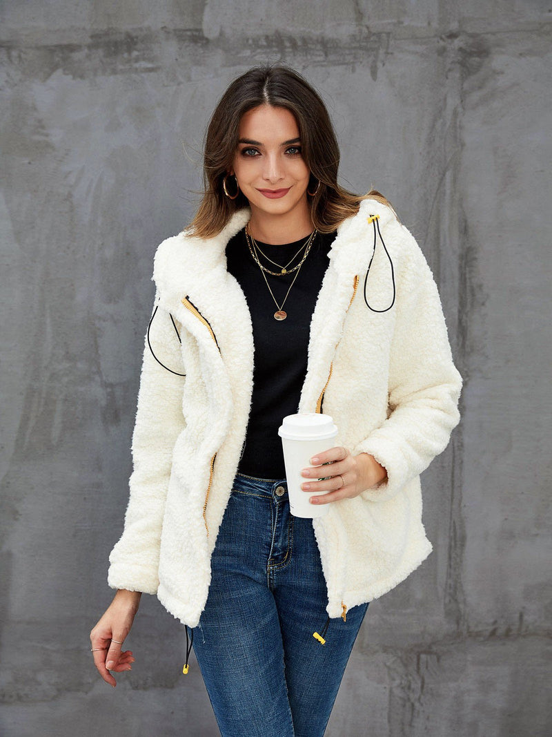 Beige Casual Paneled Outerwear