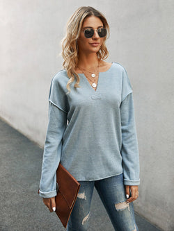 Blue Solid Casual Sweater