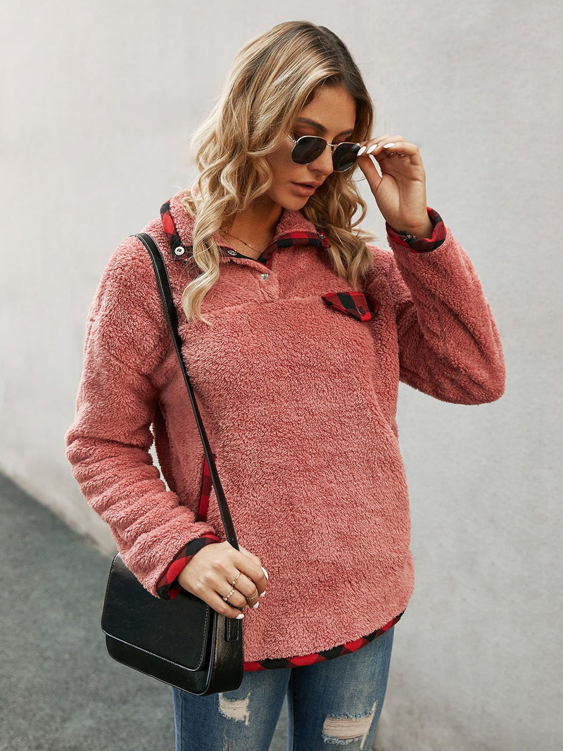 Red Cotton Buttoned Long Sleeve Shift Sweatshirt