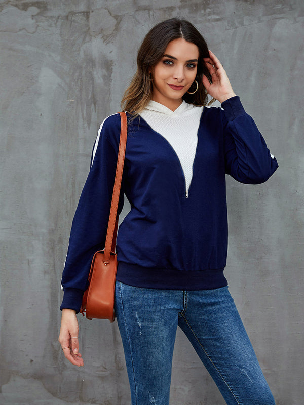 Blue Abstract Paneled Long Sleeve Hoodie Sweatshirt