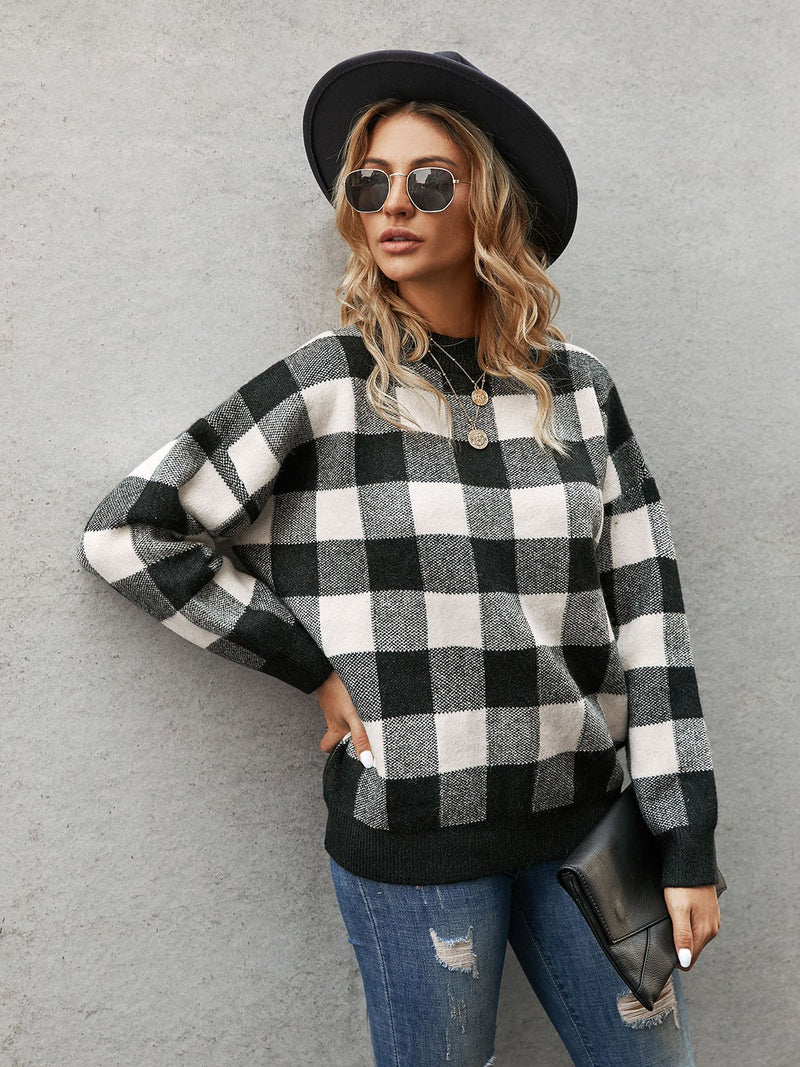 Black Checkered/plaid Casual Sweater