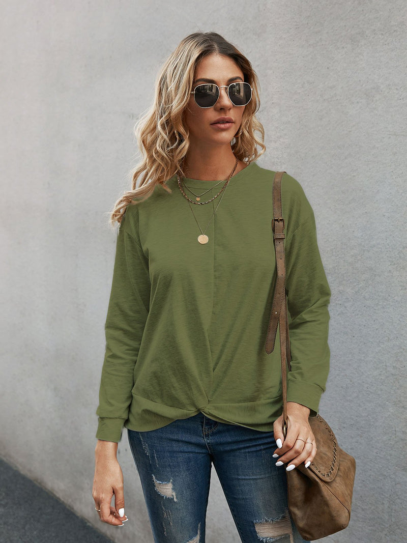 Gray Long Sleeve Paneled Sweatshirt