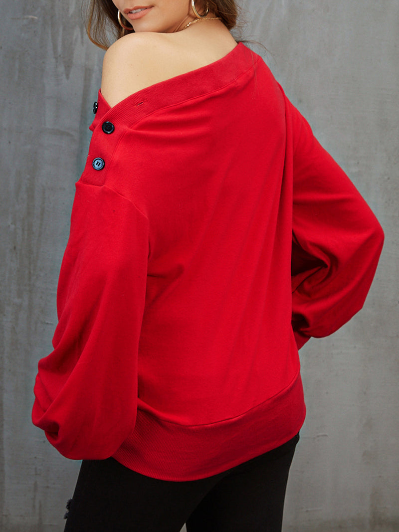 Red Solid Balloon Sleeve Sweatshirt