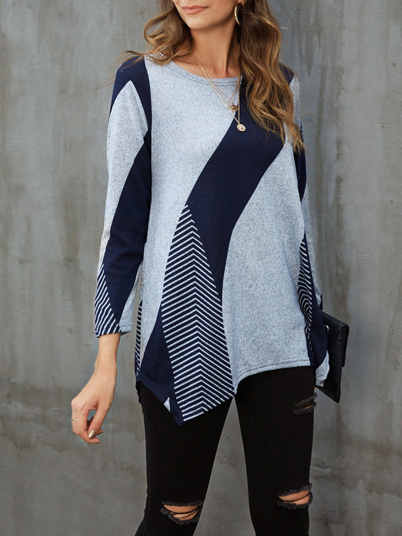 Blue Crew Neck Long Sleeve Shirts & Tops