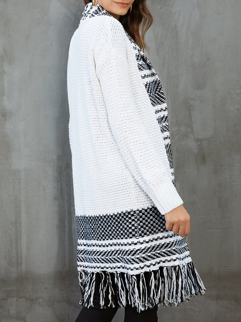 White Shift Graphic Long Sleeve Outerwear