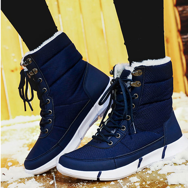 Men's and women's large neutral waterproof fur-lined snow boots
