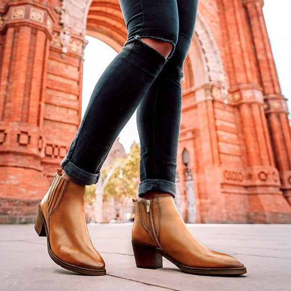 Chunky Heel Zipper Ankle Booties