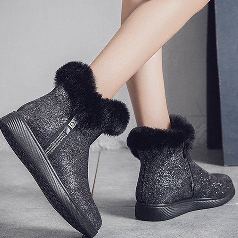 Womens Pu Flat Heel Winter Worm Boots Casual Snow Boots