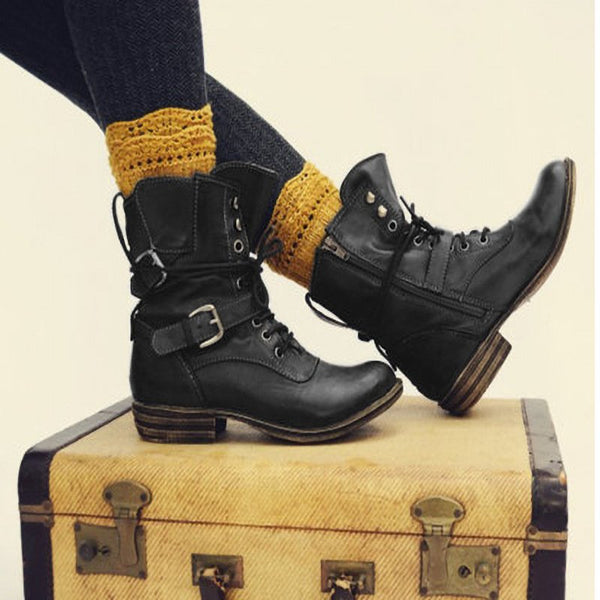 Women Vintage Faux Leather Winter Daily Boots