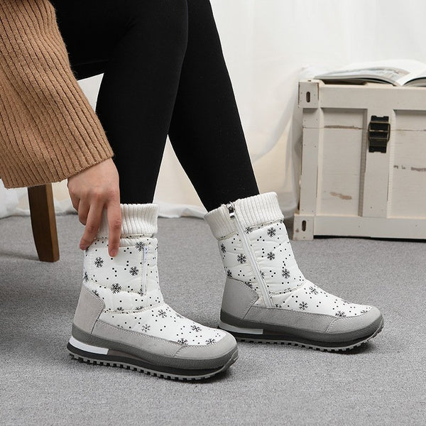 Snowflake Side Zipper Boots