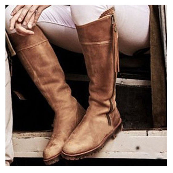 Round Toe Low Heel Zipper Casual Boots